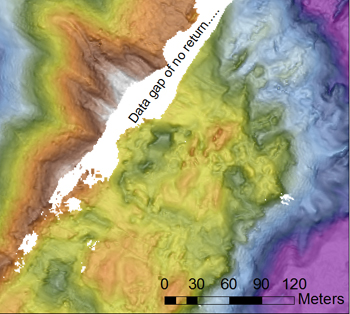 Map of AUV survey of the silicic dome, showing the large white data gap that was a shear cliff several meters high.