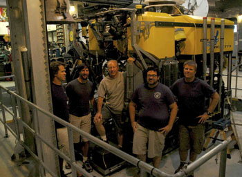 Thank you to our ROV pilots for doing excellent work this week on a truly interdisciplinary cruise! They exhibited expert skill flying the ROV and great patience with the scientists interested in collecting rocks, clams, mud, worms, vibracores, chemical and heat measurements, and more. From left, Mark Talkovic, Bryan Schaefer, Knute Brekke, Eric Martin, and Randy Prickett.