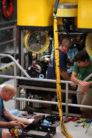 The talented ROV pilots work hard to keep the vehicle functional.