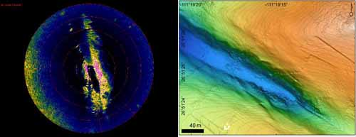 When the ROV was down in the fault trough, we could compare the sonar image from the ROV (left) with maps made from data collected by the autonomous underwater vehicle (AUV) D. Allan B (right). The alignment of the two images was nearly perfect.