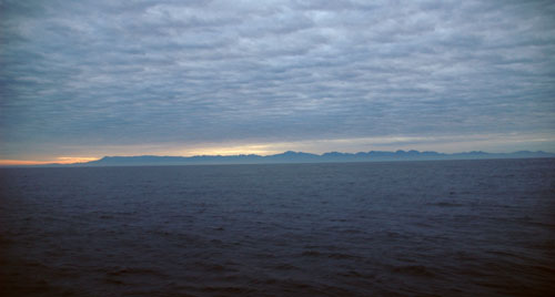 The Sierra de la Laguna rises out of the morning mist at the southern tip of Baja California.