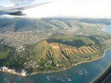 Waikiki's landmark, Diamond Head crater, from the air. Photo © 2004 J.B. Paduan