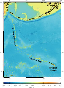 Map showing the Hawaiian Islands (lower right) and the chain of islands and seamounts extending to the northwest that were formed over the Hawaiian Hot Spot. Map © MBARI 2004