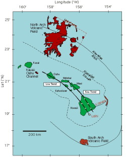 Map showing the North and South Arch lava fields, in red, in relation to the Hawaiian Islands. The axes of the trough and arch are encircling the islands. Map © MBARI 2001