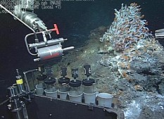 Tiburon sampling hydrothermal vent fluids for gas analysis in front of a clump of Riftia tubeworms.