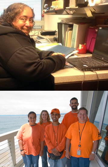 Top Image: Office Assistant Virginia Rodriguez Bottom Image: Hope Crew includes (from left to right) Davina, Mandy (supervisor), Napoleon, Tony, and Leigh.