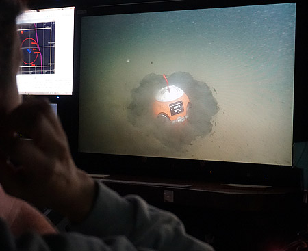 View of benthic event detector from ROV control room of R/V Rachel Carson