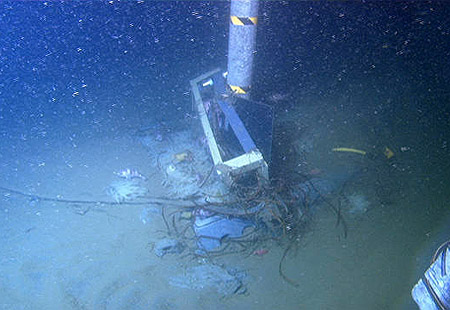 Damaged research equipment in Monterey Canyon