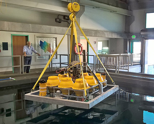 Benthic instrument node in MBARI test tank