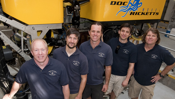 The remotely operated vehicle Doc Ricketts team, from left, Knute Brekke, Bryan Touryan-Schaefer, Mark Talkovic, Ben Erwin, and Randy Prickett, are part of MBARI's Marine Operations Division.