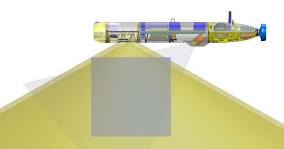 Diagram of imaging AUV in benthic mode with bow-thruster module. (c) MBARI 2010.