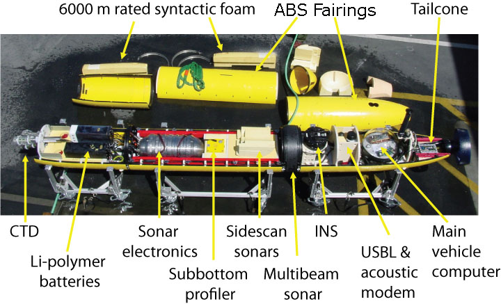 Interior of the mapping AUV, with components called out. © MBARI 2006