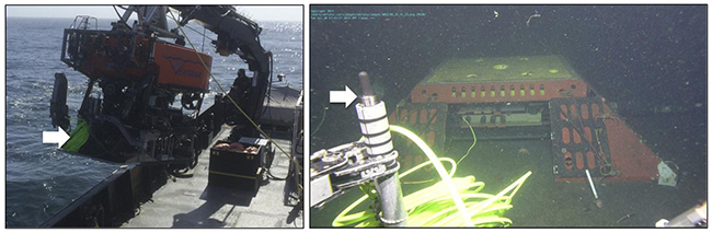 Figure 1. Hydrophone deployment. ROV Ventana held the system on the front shelf of a tool sled (arrow in picture at left) for its ride down to the MARS node at nearly 900 m depth. The arrow in the picture at right shows the hydrophone protruding from its tripod base that was placed 70 meters from the MARS node after spooling out its coil of cable.