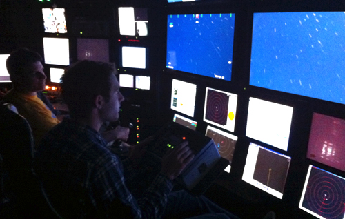 We even let interns sit at the camera controls in the ROV control room! Right, Alex controls the HD camera.