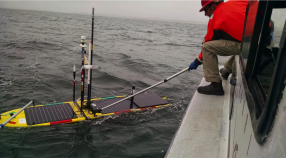Wave glider recovery on R/V Paragon