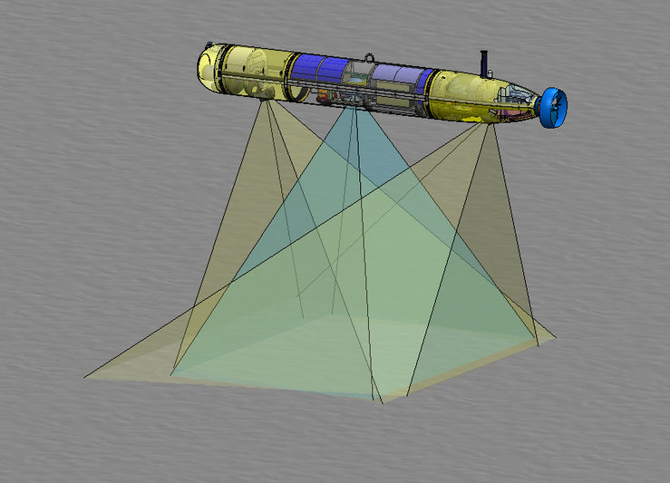 Diagram of the imaging AUV using its strobe lights to capture images of the seafloor.