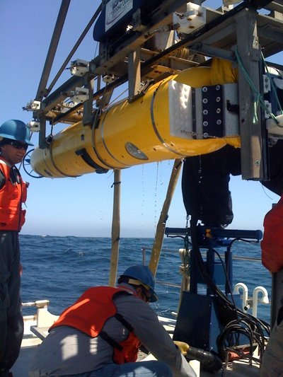The imaging AUV being deployed off MBARI's retired research vessel <em>Zephyr</em>.