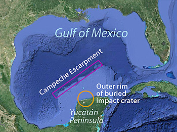This map shows the Gulf of Mexico and the locations of the Campeche Escarpment and the buried impact crater that caused a global extinction event about 65 million years ago. Base image: Google Earth