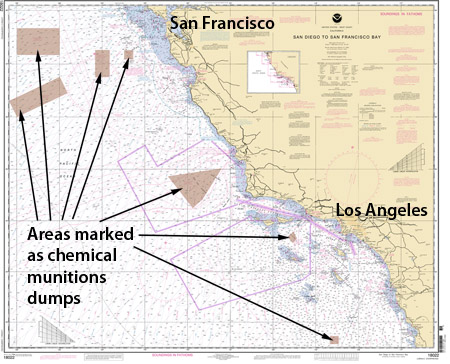 Nautical chart of the Southern California borderland showing areas marked as chemical munitions dumps.