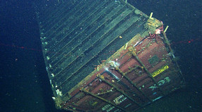 After seven years on the deep seafloor, this sunken shipping container had been colonized by a variety of deep-sea animals. Image: © 2011 NOAA / MBARI