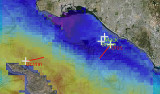 satellite image shows temperature of the ocean in and around San Pedro Bay on April 2, 2014