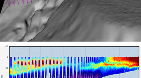 These images show two views of data collected by an underwater glider during late March, 2014. The zig-zag line shows the path of the glider as it traveled across San Pedro Bay and over deeper water offshore (to the left); the vertical scale is enlarged in the lower image. The colors of the line represent different concentrations of chlorophyll. The deep-red patch near shore (upper right) indicates high chlorophyll concentrations associated with an algal bloom. Image: © 2014 MBARI