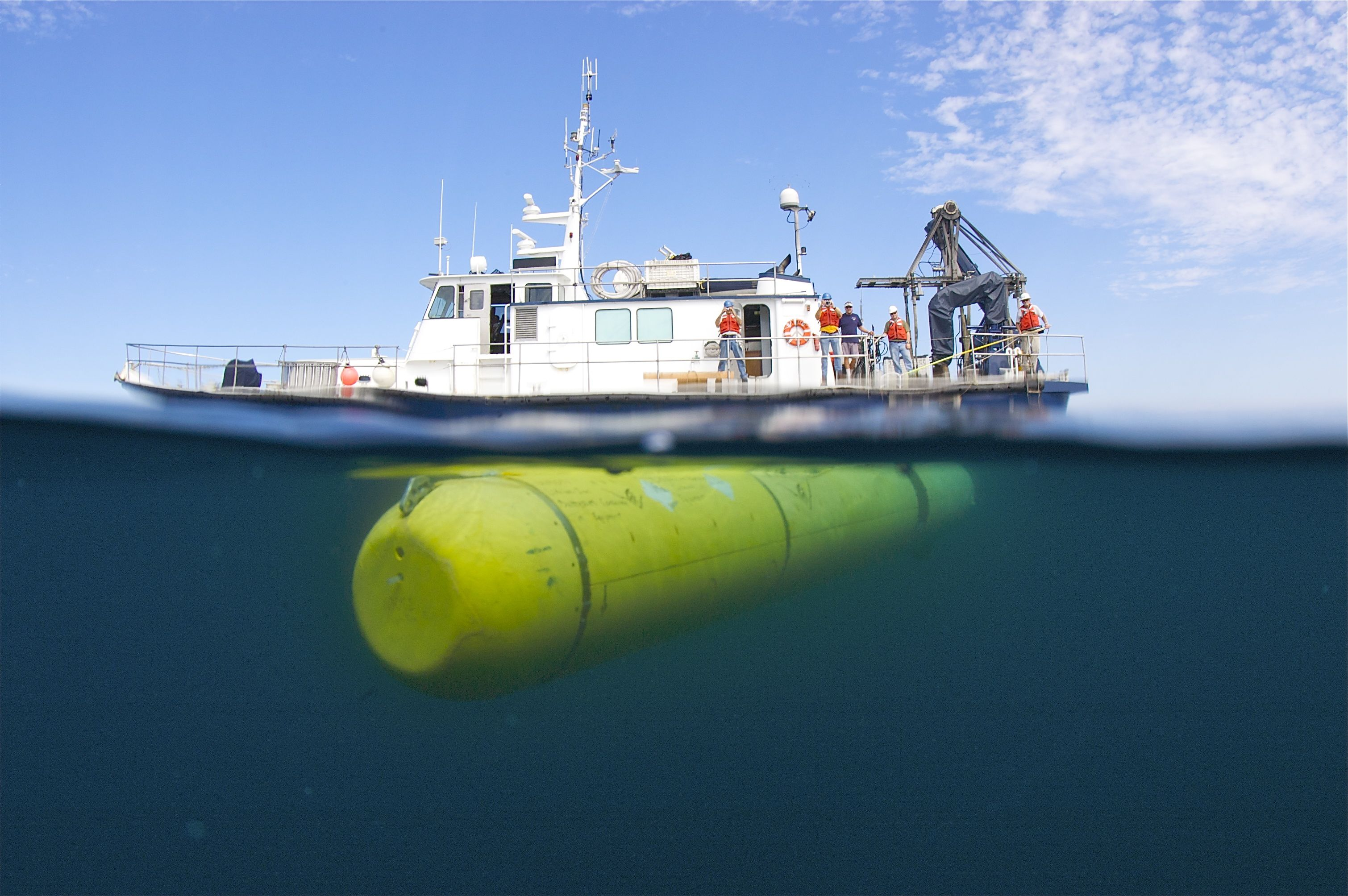 MBARI's mapping AUV underwater, during a cruise off Southern California.
