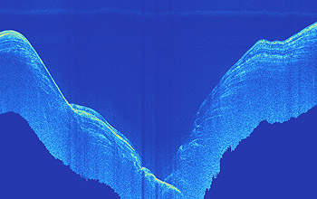 This image was created with the AUV's subbottom profiling sonar. It shows layers of sediments draping the walls of the inner Monterey Canyon. David Caress © 2005 MBARI
