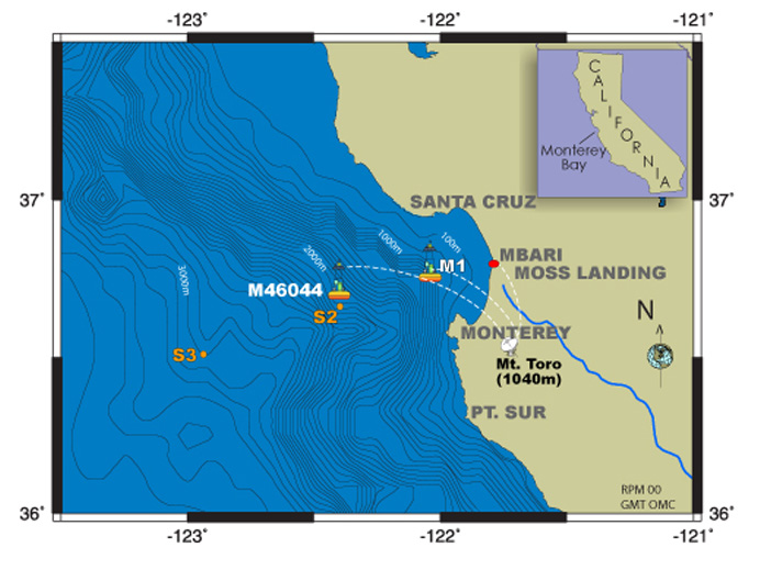 Map showing location of recent MBARI moorings