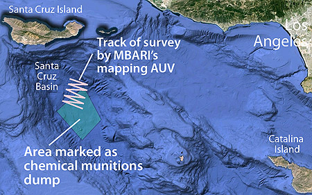 This illustration shows the location of the area in the Santa Cruz Basin marked as a chemical waste dump. The pink zig-zag line shows the path that MBARI's mapping AVU took as it performed a preliminary survey of the seafloor inside and outside of the dump area. Base map: Google Earth