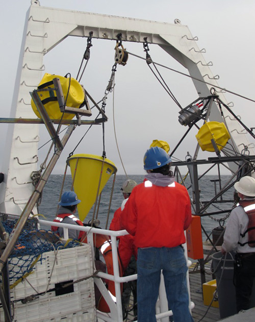 The first sediment trap is redeployed. The entire mooring—floats, lines, and all—is about 800 meters (half a mile) long and takes about two hours to place carefully into the water. Each instrument needs to be staged on deck and deployed in a specific order. The last item to go in the water is the camera tripod (on the right).