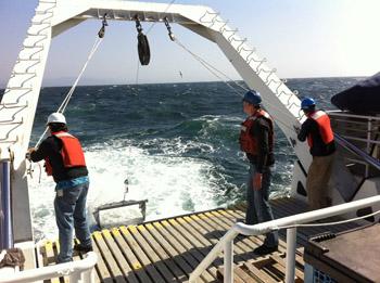 Kim Reisenbichler, Henk-Jan Hoving, and Rob Sherlock deploy the trawl. Photo by Kat Bolstad.