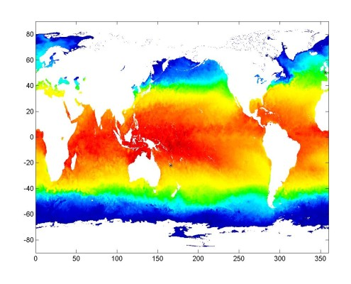 Figure 2. Sea surface temperature on January 1, 2007 and sites from which Micromonas genome strains were isolated (shown by black circle). This figure shows daily 9 km optimally interpolated SSTs from NASA's TRMM TMI, AQUA AMSR-E, and AQUA MODIS SST. (Provided by C.L. Gentemann).
