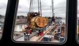 View from the bridge of the engine being lifted away from the Western Flyer.