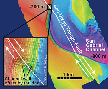 A portion of the San Diego Trough Fault Zone that bisects an ancient seafloor channel called the San Gabriel Channel. The inset shows a close-up of the channel wall that has been offset by the fault, with white arrows indicating the direction of slip between the two plates. Image © 2013 MBARI.