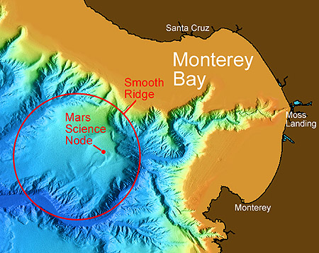 Computer generated image of the bathymetry of Monterey Canyon based on multi-beam sonar surveys of the ocean bottom.