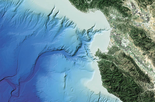 Monterey Canyon, based on detailed bathymetric data, combined with satellite imagery of the Central California coast.