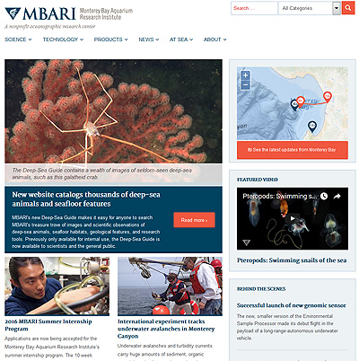 MBARI's new home page, as of January 11, 2016