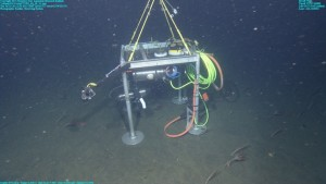 This photo shows the PhoBOS video system on top of the MARS science node in Monterey Bay. Image: (c) 2010 MBARI