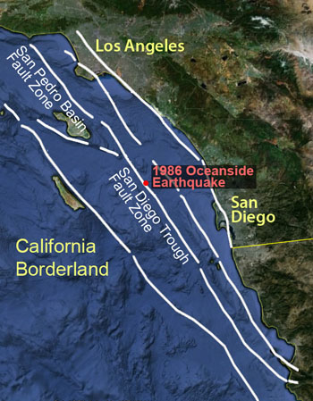 Major faults within the California Borderland. Image © 2013 MBARI. Base map from Google Maps.