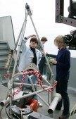 Dr. Edith Widder and Ph.D. student Erika Raymond examine an early version of the Eye in the Sea before a brief deployment in Monterey Bay in 2003. Image: Kim Fulton-Bennett, ©2003 MBARI.