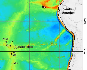This map shows the locations of hydrothermal vents along the Pacific-Antarctic ridge that scientists explored during the Easter Microplate expedition. The vent sites are indicated by black dots with labels indicating their latitudes. Image: (c) 2005 MBARI