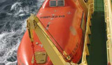 One of two closed-top lifeboats on the Nathaniel B. Palmer. Each lifeboat can hold the complete capacity of the ship (70 people). Photo by Ron Kaufmann.