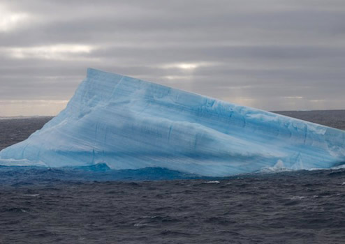 Layers of white and blue show seasonal freeze/thaw cycles in this iceberg fragment. Photo by Debbie Nail Meyer.