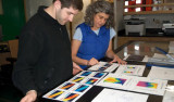 Ben Twining and Maria Vernet study data plots to plan their sampling schedules. Photo by Debbie Nail Meyer.