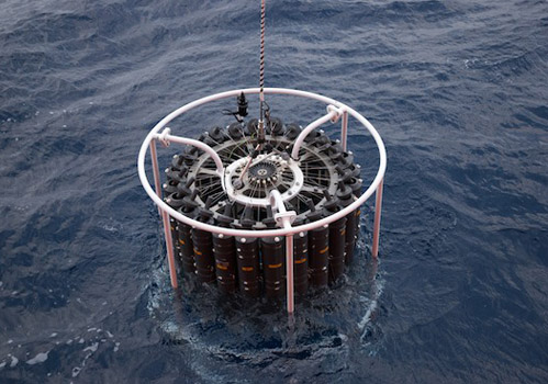 A CTD (conductivity, temperature, depth) rosette is lowered into the water. The Niskin bottles arranged in a carousel are secured open and then closed electronically at depth.