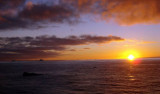 Sunsets last over an hour in the polar ocean because the sun moves more slowly across the sky. Photo by Amanda Kahn.