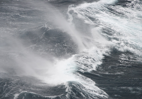 Waves rock the ship around as we cross the Drake Passage, but mechanisms such as anti-roll tanks are keeping our transit as smooth as possible. Photo by Kim Reisenbichler.