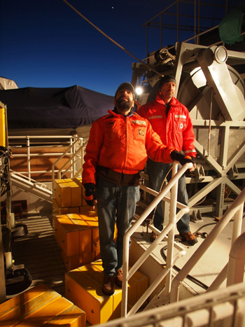 Paul McGill and Rich Henthorn assess wind and wave conditions during the early-morning deployment of the FVGR. Photo: Carola Buchner.