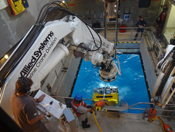 ROV Doc Ricketts was deployed from the moon pool in the center of the Western Flyer. It then descended 4,000 meters to the seafloor, acting as eyes and hands underwater for scientists. Photo: Amanda Kahn.